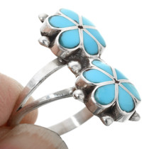 Zuni Inlay Flower Turquoise Ring 32196
