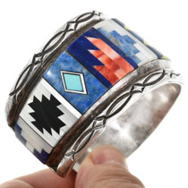 Navajo Inlay Sterling Silver Lapis Bracelet 32218