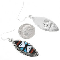 Inlay Earrings Zuni Artist Signed 32221