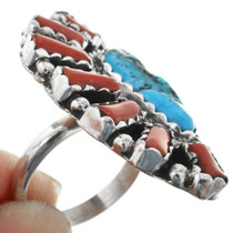 Navajo Sterling Silver Coral Ring 32225