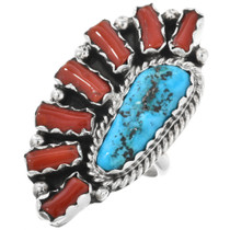 Native American Turquoise Coral Ring 32225