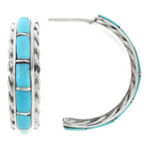 Inlaid Turquoise Hoop Earrings 32231