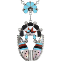 Turquoise Zuni Sunface Necklace Earrings Set 32236