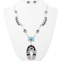 Zuni Inlaid Silver Sunface Necklace 32236