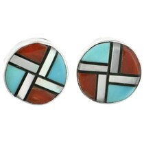 Zuni Inlaid Turquoise Post Earrings 32238