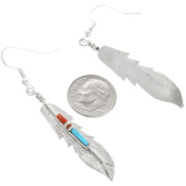 Silver Feather Navajo Earrings Fred Barney 32247