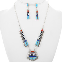Turquoise Inlay Necklace Earrings Set 32252