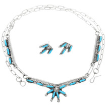 Zuni Needlepoint Turquoise Silver Necklace 32255
