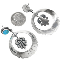 Navajo Turquoise Silver Concho Earrings 32257
