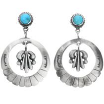 Turquoise Silver Western Earrings 32257