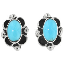 Turquoise Silver Navajo Earrings 32261