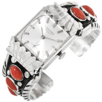 Coral Sterling Silver Cuff Watch 32270