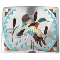 Old Pawn Zuni Mallard Duck Belt Buckle 32282