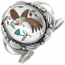 Vintage Sterling Silver Inlay Cuff Bracelet 32286