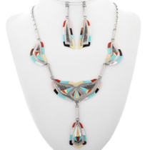 Vintage Zuni Inlaid Necklace Set 32287