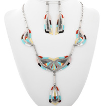 Vintage Zuni Inlaid Necklace Set 32287