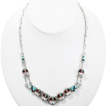Old Pawn Turquoise Coral Inlaid Necklace 32288