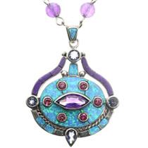 Vintage Opal Amethyst Southwest Pendant Necklace 32297