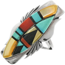Old Pawn Inlaid Shell Turquoise Ladies Ring 32299