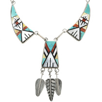 Old Pawn Zuni Inlaid Y Necklace 32302