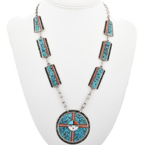 Old Pawn Turquoise Coral Necklace 32305