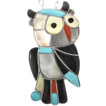Vintage Zuni Inlaid Owl Pendant Pin 32308