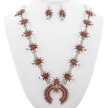 Vintage Zuni Coral Squash Blossom Set 32312
