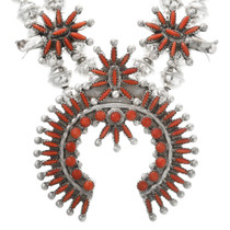 Coral Zuni Needlepoint in Sterling Silver Necklace 32312