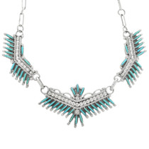 Turquoise Silver Filigree Zuni Necklace 32317