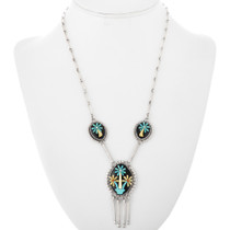 Old Pawn Turquoise Shell Applique Necklace 32322