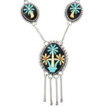 Zuni Flower Pattern Turquoise Silver Necklace 32322