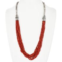 Vintage Ten Strand Coral Bead Necklace 32323