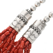 Coral Necklace with Large Sterling Silver Tube Beads 32323