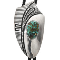 Vintage Turquoise Silver Bolo Tie 32326