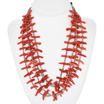 Carved Coral Fetish Bead Necklace 32328