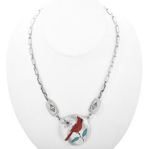 Inlaid Cardinal Sterling Silver Necklace 32329