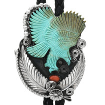 Carved Turquoise Eagle Bolo Tie 32331