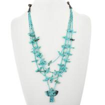 Vintage Carved Turquoise Fetish Necklace 32337