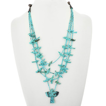 Vintage Carved Turquoise Fetish Necklace 32337