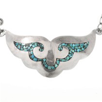 Sterling Silver Necklace Inlaid with Turquoise Chips 32338