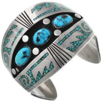 Vintage Navajo Turquoise Shadowbox Bracelet 32343