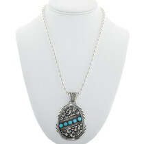 Southwest Turquoise Silver Nugget Pendant 32344