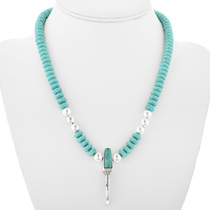 Beaded Turquoise Silver Claw Choker 32347