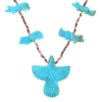Hand Carved Turquoise Fetish Necklace 35337