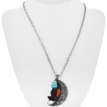 Turquoise Coral Jet Native American Pendant 32367