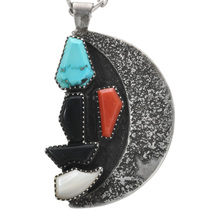 Vintage Silver Crescent Turquoise Pendant 32367