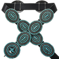 Old Pawn Zuni Turquoise Concho Belt 32379