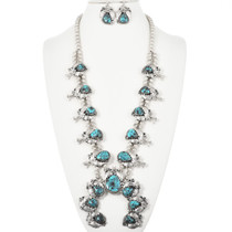 Old Pawn Bisbee Turquoise Squash Blossom Necklace 32408