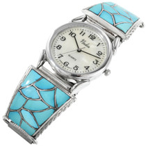 Turquoise Inlay Sterling Silver Mens Watch 32409
