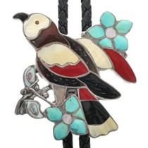 Vintage Zuni Inlaid Song Bird Bolo Tie 32418